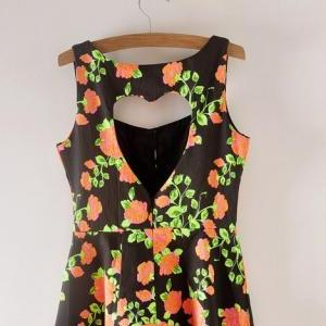 Black Floral Printed Casual Dress w..