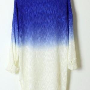 Blue Color Gradient Batwing Sleeve ..
