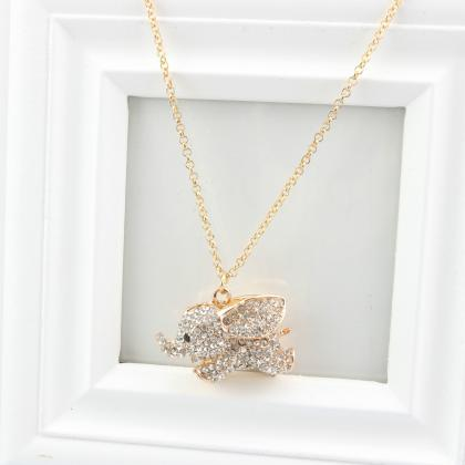Studded Cute Elephant Necklace (shi..