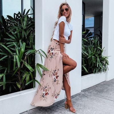 Floral Print Wrap Maxi Skirt Featuring High Slit and Tying Sash