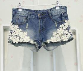 Crocheted Lace Denim Short