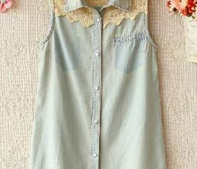 Sleeveless Denim Shirt With Lace