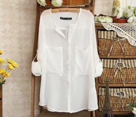 White Loose Shirt With Twins Pocket