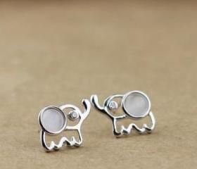 Sterling Silver Cute Elephant Earring Stud
