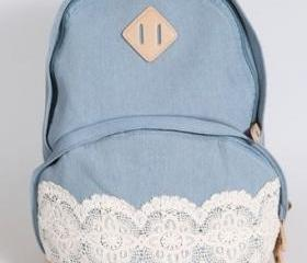 Canvas Light Blue Lace Backpack