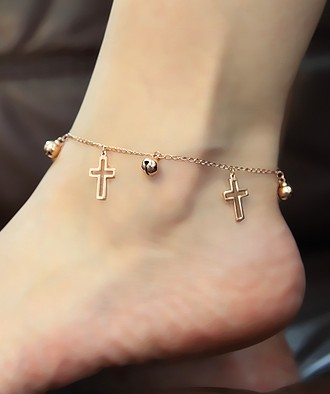 Hollow Cross Anklet With Small Bell