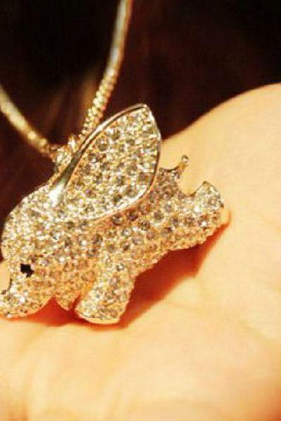 Studded Cute Elephant Necklace (ship from US)