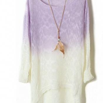 Purple Color Gradient Batwing Sleeve Irregular Sweaters For Women