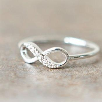 Silver Studded Infinity Ring